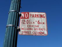 Dirty Parking Sign in San Francisco royalty free stock photo