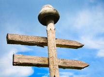 Unusual signpost. On the background of blue sky royalty free stock photography