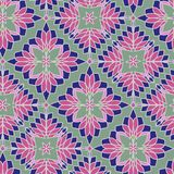 Unusual and simple abstract geometric pattern, vector seamless from abstract forms, mosaic. In pink and blue tones on a green background vector illustration