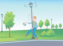 Unusual Situations In The Park With Street Lamp. Royalty Free Stock Image