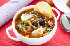 Unusual soup with olives and pickles. Closeup Royalty Free Stock Image
