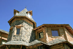 Unusual stone and timber house Royalty Free Stock Photography