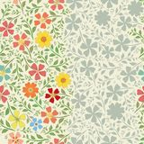 Unusual striped floral vintage border design with hand drawn flowers . Seamless vector pattern with bright and neutral. Colored borders. Perfect for packaging royalty free illustration