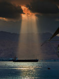 Unusual sun rays at the Red sea Royalty Free Stock Images