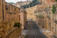 Top view of maltese road in city Valletta. Unusual top view of maltese road in city Valletta Stock Photo