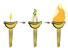 Unusual a torch with fire Royalty Free Stock Photos