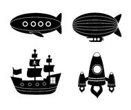 Unusual transport. Over white backgroud vector illustration Royalty Free Stock Photos