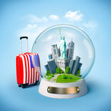 Unusual travel illustration. Statue of Liberty and buildings in the glass ball. Unusual travel illustration. USA royalty free illustration