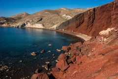 Unusual and unique Red beach on Santorini, Greece Royalty Free Stock Photos