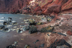 Unusual and unique Red beach on Santorini, Greece Royalty Free Stock Image