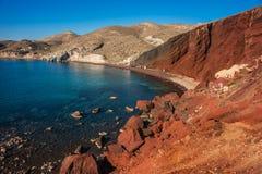 Unusual and unique Red beach on Santorini, Greece Stock Photo