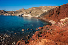 Unusual and unique Red beach on Santorini, Greece Stock Image