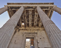 Unusual view of ancient greek building, Athens acropolis Royalty Free Stock Photography