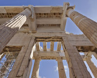 Unusual view of ancient greek building, Athens acropolis Royalty Free Stock Photo