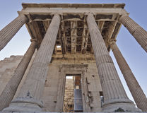 Unusual view of ancient greek building, Athens acropolis Stock Image