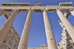 Unusual view of ancient greek building, Athens acropolis Royalty Free Stock Images