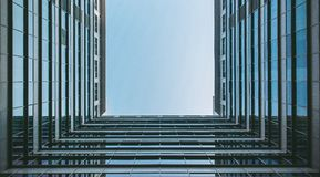 Unusual view of high rise building Stock Photo