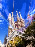 Unusual view of the Sagrada Familia, Barcelona, through the big. Bubble, Spain Royalty Free Stock Images