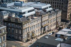 An unusual view of St Vincent Street Glasgow from 17 floors above. A high level view of Glasgow seen from the roof of the Pinnacle building on Bothwell Street in Royalty Free Stock Photography
