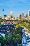 Unusual view of the Sydney downtown skyline Royalty Free Stock Photos