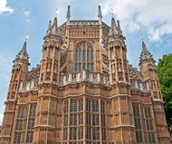 Unusual view of Westminster Abbey, London. A view of the rear of Westminster Abbey in London stock image