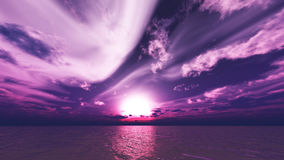 Unusual violet sunset or sunrise sea waves bright colorful background. 3d abstract sky illustration Royalty Free Stock Photo