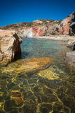 Unusual vivid colors of Palepchori beach, Milos, Greece Stock Photography