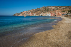Unusual vivid colors of Palepchori beach, Milos, Greece Stock Images