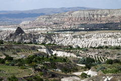 Unusual volcanic landscape in Cappadocia Stock Photo