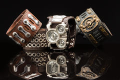 Unusual watches. several alternatives dials. Wide leather bracelet Royalty Free Stock Image