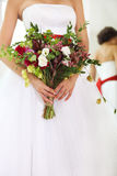 Unusual wedding bouquet with succulent flowers and hop Royalty Free Stock Photos