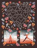 Unusual wedding invitation with elf ballet dancers and silhouette of heart. Stock Image