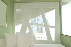 Unusual window in apartment of the luxury hotel Stock Photos