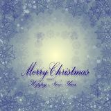 Unusual winter card with Merry Christmas, blue snowflakes. Vector background vector illustration