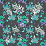 Unusual winter seamless pattern with ornamental maple leaves, bouquet of roses, raspberries and snowflakes.  royalty free illustration