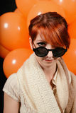 Unusual woman with balloons studio Royalty Free Stock Images