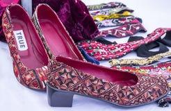 Unusual women`s shoes. Handmade by bedouin woman stock photos