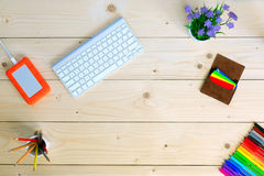 Unusual Working Place on Cozy light wooden Table Stock Photography