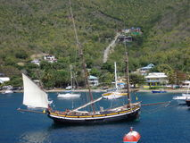 An unusual yacht anchored at bequia. Royalty Free Stock Photography