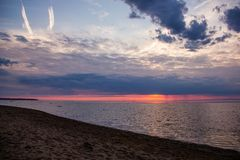 An unusually beautiful fire sunset by the sea. Sunset on the Gulf. Sunset at the sea. royalty free stock image