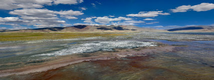 An unusually bright and colorful panorama of the surface of the water is high mountain lake of Tso Kar: red, blue, green white sha Royalty Free Stock Photography