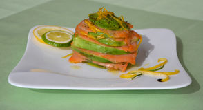 Unusually styled slices of fresh salmon Stock Photo