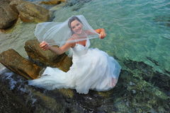 Unveiled bride of the sea Royalty Free Stock Images