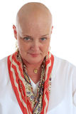 Unveiling #4 - Moment of Truth. A beautiful chemotherapy patient with the courage to reveal her bare head.  Fourth in a sequence Stock Photography