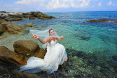 Unveiling the bride of the sea Stock Photos