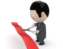 Unveiling! Businessman in suit cutting red ribbon Royalty Free Stock Photo