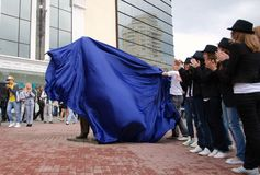 Unveiling of monument to Michael Jackson. Royalty Free Stock Photo