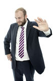 Unverdächtiger weißer Hintergrund des BartGeschäftsmannes Stockfoto