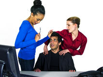 Unwanted advances in the office with white backgro Stock Images