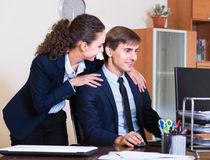 Unwanted  behaviour chief touching manager Stock Photography